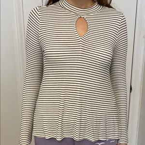 American Eagle Black and White Striped Long Sleeve